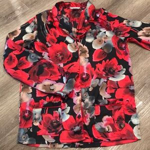 Victoria's Secret Red & Black Floral Pajama Top